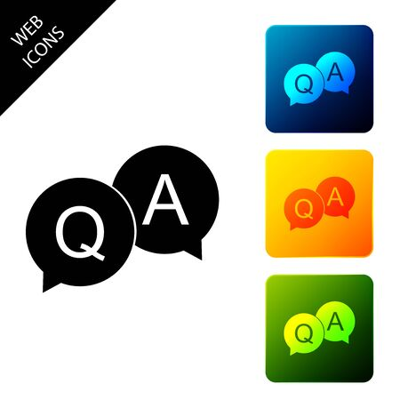 Question and Answer mark in speech bubble icon isolated. Q and A symbol. FAQ sign. Copy files, chat speech bubble and chart web icons. Set icons colorful square buttons. Vector Illustration
