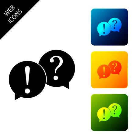 Speech bubbles with Question and Exclamation marks icon isolated. FAQ sign. Copy files, chat speech bubble and chart web icons. Set icons colorful square buttons. Vector Illustration Ilustracja