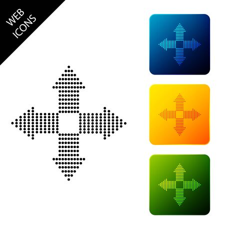 Arrows dots in four directions icon isolated. Set icons colorful square buttons. Vector Illustration