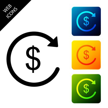 Refund money icon isolated. Financial services, cash back concept, money refund, return on investment, savings account, currency exchange. Set icons colorful square buttons. Vector Illustration Illustration