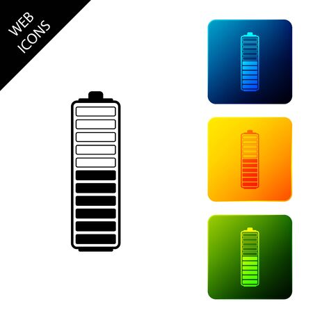 Battery charge level indicator icon isolated. Battery charging - power sign. Electricity symbol - energy sign. Set icons colorful square buttons. Vector Illustration
