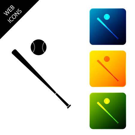 Baseball ball and bat icon isolated. Set icons colorful square buttons. Vector Illustration
