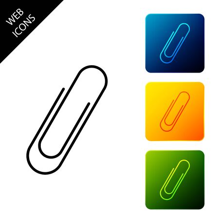 Paper clip icon isolated. Set icons colorful square buttons. Vector Illustration Illustration