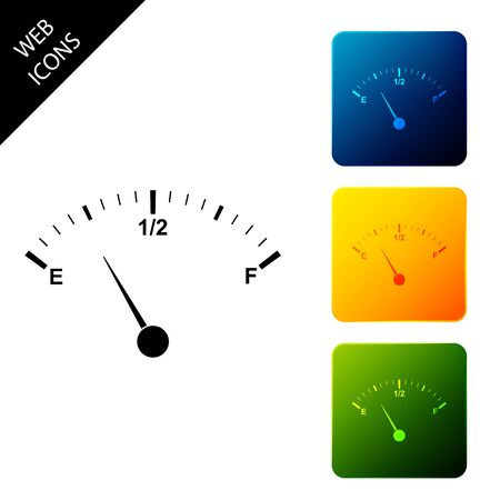 Motor gas gauge icon isolated. Empty fuel meter. Full tank indication. Set icons colorful square buttons. Vector Illustration