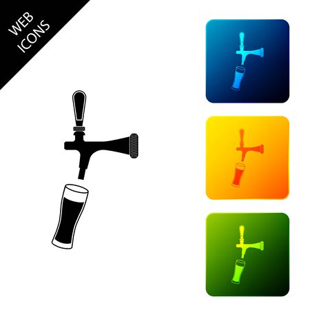 Beer tap with glass icon isolated. Set icons colorful square buttons. Vector Illustration Иллюстрация