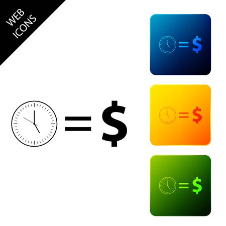 Time is money icon isolated. Money is time. Effective time management. Convert time to money. Set icons colorful square buttons. Vector Illustration