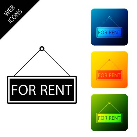 Hanging sign with text For rent icon isolated. Set icons colorful square buttons. Vector Illustration Stock Illustratie