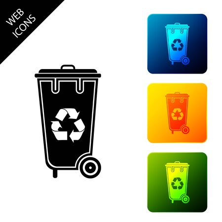 Recycle bin with recycle symbol icon isolated. Trash can icon. Garbage bin sign. Recycle basket icon. Set icons colorful square buttons. Vector Illustration