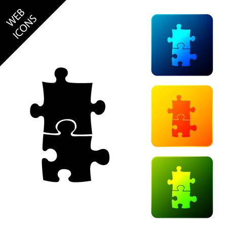 Piece of puzzle icon isolated. Business, marketing, finance, template, layout, infographics, internet concept. Set icons colorful square buttons. Vector Illustration Ilustrace
