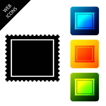Postal stamp icon isolated. Set icons colorful square buttons. Vector Illustration