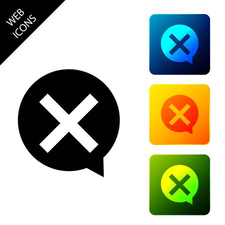 X Mark, Cross in circle icon isolated. Check cross mark icon. Set icons colorful square buttons. Vector Illustration
