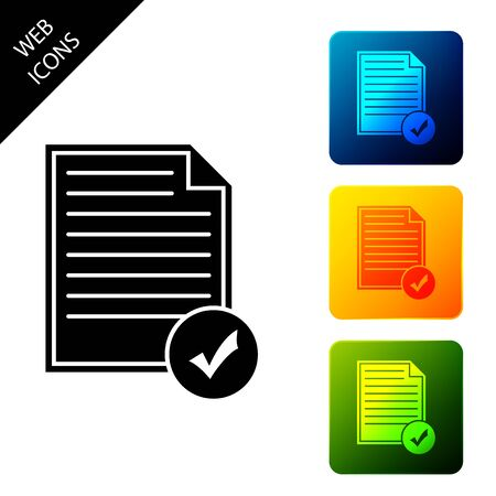 Document and check mark icon isolated. Checklist icon. Business concept. Set icons colorful square buttons. Vector Illustration Illustration