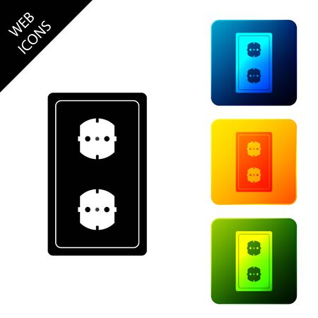 Electrical outlet icon isolated. Power socket. Rosette symbol. Set icons colorful square buttons. Vector Illustration
