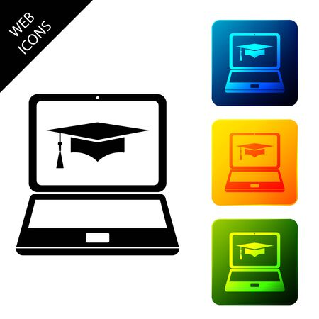 Graduation cap and laptop icon. Online learning or e-learning concept icon isolated. Set icons colorful square buttons. Vector Illustration 写真素材 - 129688042
