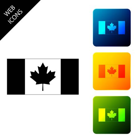 Canada flag icon isolated. Set icons colorful square buttons. Vector Illustration Stock Illustratie