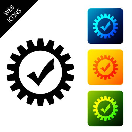 Gear with check mark icon isolated. Cogwheel simple icon. Approved service sign. Transmission Rotation Mechanism symbol. Set icons colorful square buttons. Vector Illustration