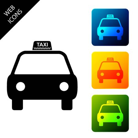 Taxi car icon isolated. Set icons colorful square buttons. Vector Illustration
