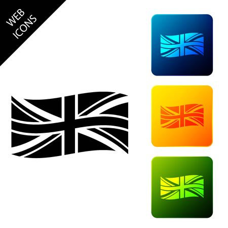 Flag of Great Britain icon isolated. UK flag sign. Official United Kingdom flag sign. British symbol. Set icons colorful square buttons. Vector Illustration Иллюстрация