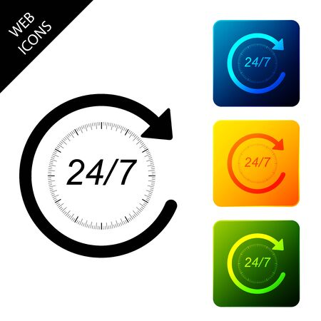 Open 24 hours a day and 7 days a week icon isolated. All day cyclic icon. Set icons colorful square buttons. Vector Illustration