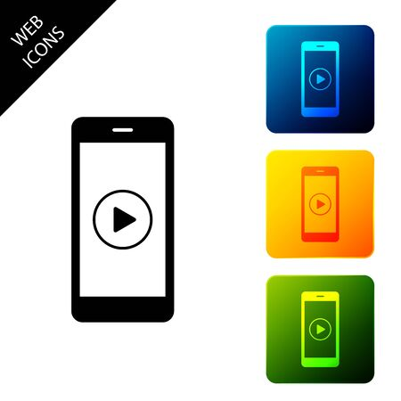 Smartphone with play button on the screen icon isolated. Set icons colorful square buttons. Vector Illustration