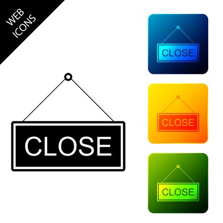 Hanging sign with text Close icon isolated. Business theme for cafe or restaurant. Set icons colorful square buttons. Vector Illustration