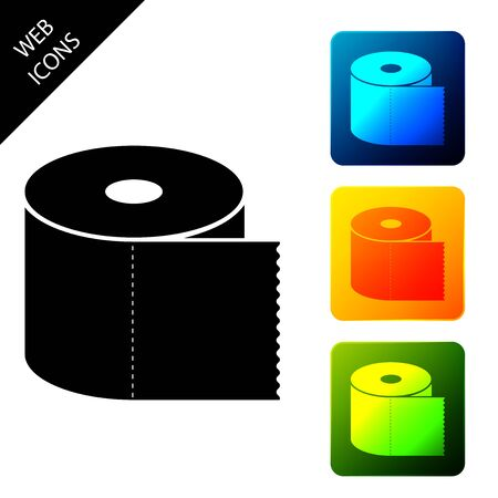 Toilet paper roll icon isolated. Set icons colorful square buttons. Vector Illustration 向量圖像
