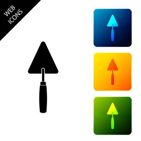 Trowel icon isolated. Set icons colorful square buttons. Vector Illustration