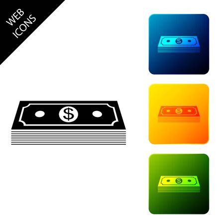 Paper money american dollars cash icon isolated. Money banknotes stack with dollar icon. Bill currency. Set icons colorful square buttons. Vector Illustration Stock Illustratie