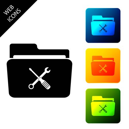 Folder and tools or settings icon isolated. Folder with wrench and screwdriver sign. Computer technical service. Set icons colorful square buttons. Vector Illustration