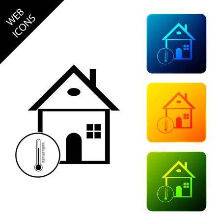 House temperature icon isolated. Thermometer icon. Set icons colorful square buttons. Vector Illustration 일러스트