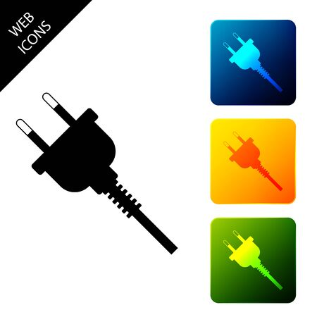 Electric plug icon isolated. Concept of connection and disconnection of the electricity. Set icons colorful square buttons. Vector Illustration 일러스트