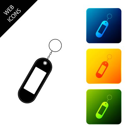 Key chain icon isolated. Blank rectangular keychain with ring and chain for key. Set icons colorful square buttons. Vector Illustration