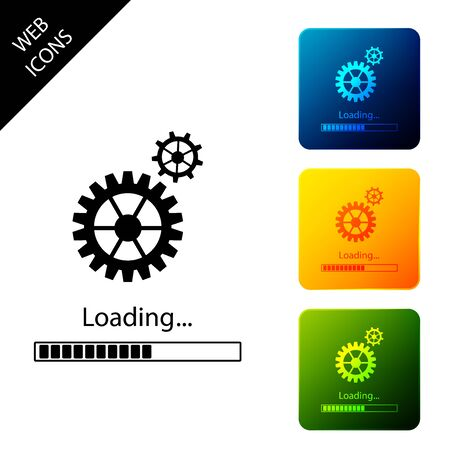 Loading and gear icon isolated. Progress bar icon. System software update. Loading process symbol. Set icons colorful square buttons. Vector Illustration