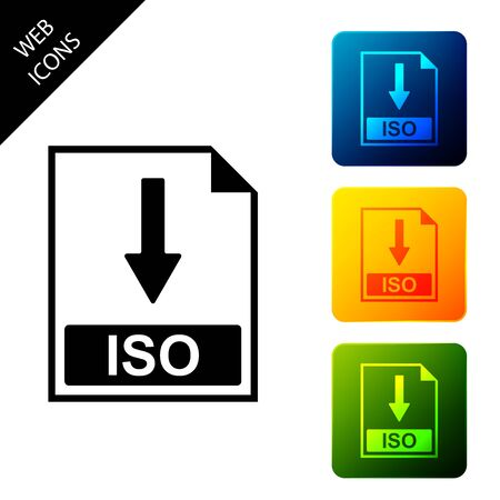 ISO file document icon. Download ISO button icon isolated. Set icons colorful square buttons. Vector Illustration Vektorové ilustrace