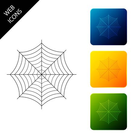 Spider web icon isolated. Cobweb sign. Set icons colorful square buttons. Vector Illustration