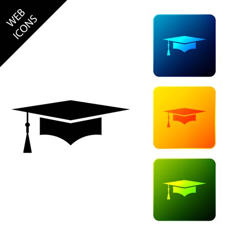 Graduation cap icon isolated. Graduation hat with tassel icon. Set icons colorful square buttons. Vector Illustration 写真素材 - 129690109