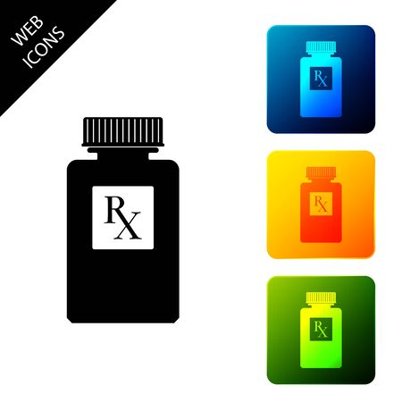 Pill bottle with Rx sign and pills icon isolated. Pharmacy design. Rx as a prescription symbol on drug medicine bottle. Set icons colorful square buttons. Vector Illustration