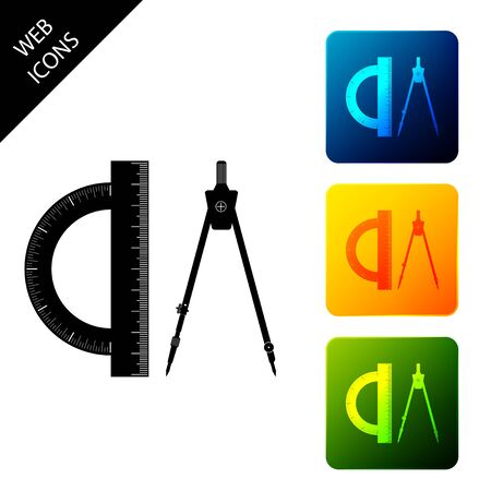 Protractor and drawing compass icon isolated. Drawing professional instrument. Geometric equipment. Education sign. Set icons colorful square buttons. Vector Illustration