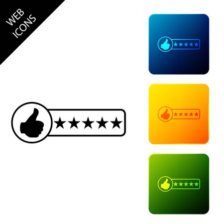 Consumer or customer product rating icon isolated. Set icons colorful square buttons. Vector Illustration Banque d'images - 129690174