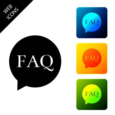 Speech bubble with text FAQ information icon isolated. Circle button with text FAQ. Set icons colorful square buttons. Vector Illustration  イラスト・ベクター素材