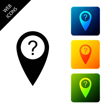 Map pointer with Question symbol icon isolated. Marker location sign. For location maps. Sign for navigation. Index location on map. Set icons colorful square buttons. Vector Illustration