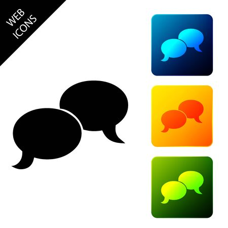 Blank speech bubbles icon isolated. FAQ sign. Copy files, chat speech bubble and chart web icons. Set icons colorful square buttons. Vector Illustration