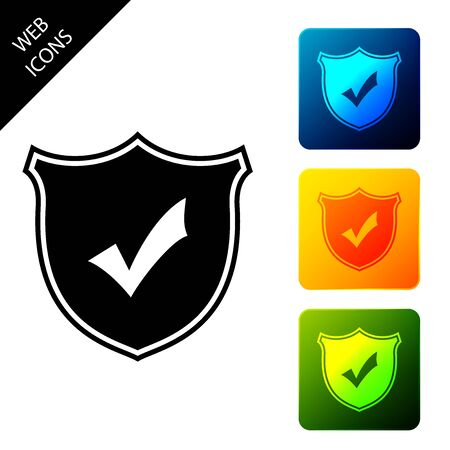 Shield with check mark icon isolated. Protection symbol. Security check Icon. Tick mark approved icon. Set icons colorful square buttons. Vector Illustration 일러스트