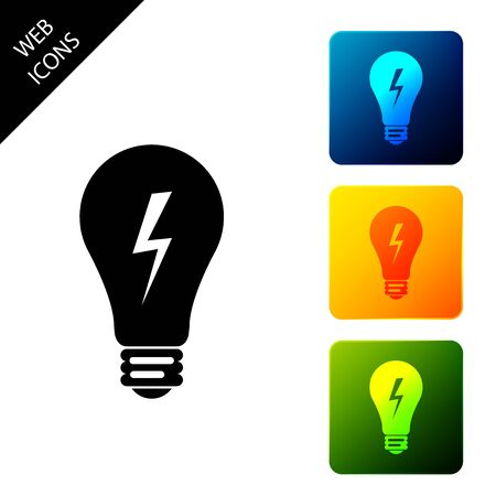 Light lamp sign. Bulb with lightning symbol icon isolated. Idea symbol. Set icons colorful square buttons. Vector Illustration