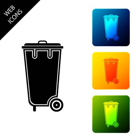Trash can icon isolated. Garbage bin sign. Recycle basket icon. Office trash icon. Set icons colorful square buttons. Vector Illustration