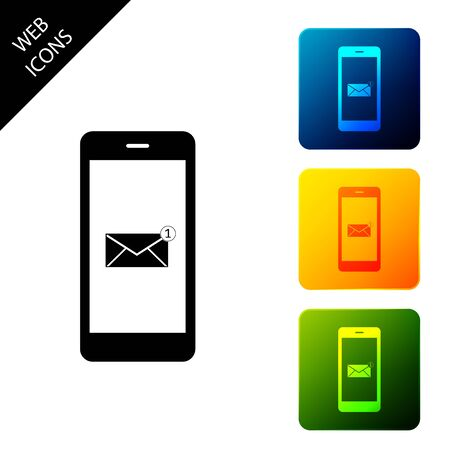 Received message concept. New email notification on the smartphone screen icon isolated. New message on the phone screen. Mail delivery service. Set icons colorful square buttons. Vector Illustration