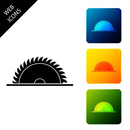 Circular saw blade icon isolated. Saw wheel. Set icons colorful square buttons. Vector Illustration