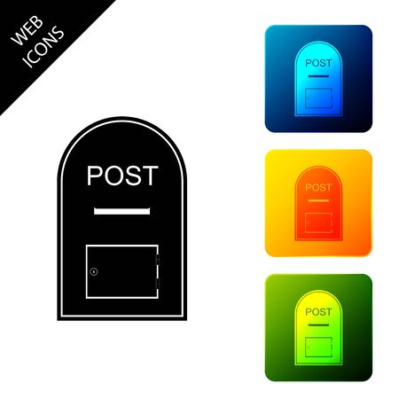 Mail box icon. Post box icon isolated. Set icons colorful square buttons. Vector Illustration