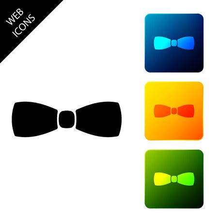Bow tie icon isolated. Set icons colorful square buttons. Vector Illustration Foto de archivo - 129690557