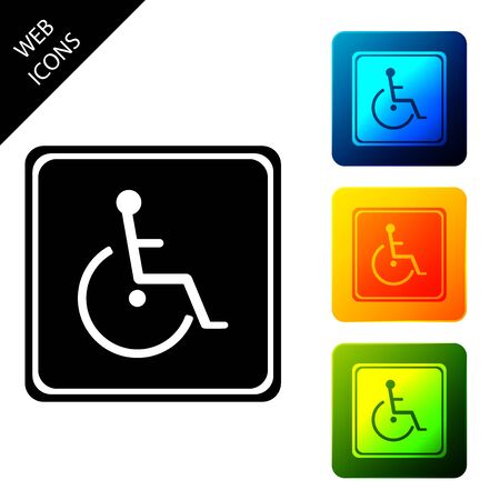 Disabled handicap icon isolated. Wheelchair handicap sign. Set icons colorful square buttons. Vector Illustration 일러스트